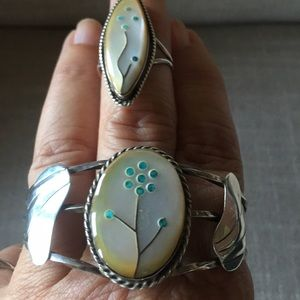 Sterling Silver set vintage ring & bracelet